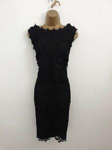 Kaliko UK Size 14 Black Crochet Lace Style Party Occasion Evening Dress