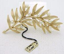 VTG NWT 1950's CROWN TRIFARI Signed Clear Faux Pearl Flower Brooch Pin (B)