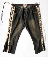 Lace up side BOHO distressed 16 Cavaricci black jean denim hippie stretch short