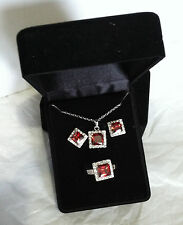 NEW QVC Silver Plated Earrings Pendant Ring set simulated Garnet Ring size 10