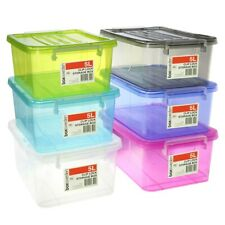 6 x 5L Colored Stackable Plastic Clip Lock Lid Storage Boxes Container 26x20.5cm