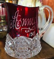 """1903 """"Anne"""" Etched Ruby Flash 4"""" EAPG Cream Pitcher DUNCAN'S SONS, GEORGE & CO."""