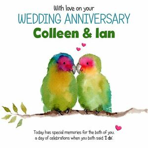 PERSONALISED LOVE BIRDS I DO-TO BOTH OF YOU WEDDING ANNIVERSARY CARD - ADD NAMES