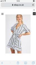 BNWT Asos Influence Stripe Mock Wrap Frill Detail Dress Size 12