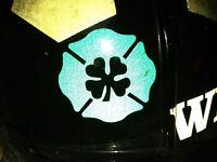 REFLECTIVE Maltese Clover Decal Fighter Rescue Helmet Sticker FREE SHIPPING