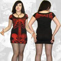 Kreepsville 666,skeleton dress,black with red skeleton, alternative, Gothic wear