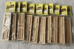 "Houseworks Dollhouse Miniature Shutters 10 Packs 5022 Wood 2 Panel NIP 1"" Scale"