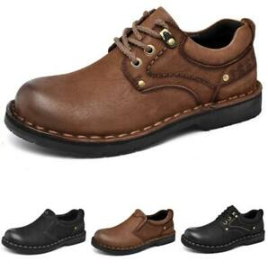 Mens Work Round Toe Walking Oxfords Lace up Flats Business Leisure Shoes 38-44 L