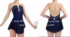 Custom Ice skating dress Competition Figure Skating Costume Dance navy