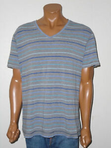LULULEMON Athletic s/s T-Shirt 5 YEAR BASIC Tee GRAY Multi Stripe V-Neck Mens XL