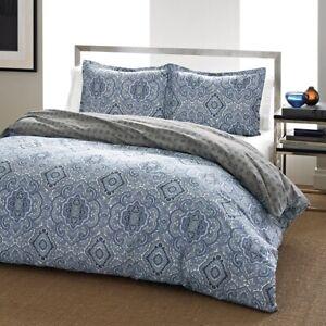 City Scene Milan Blue Twin Bed Duvet Cover Set w/ Pillow Sham New