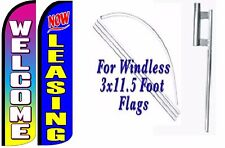 Now Leasing Welcome Windless Swooper Flag With Complete Kit Pack of 2