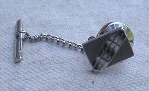 Vintage Silver Rectangular Tie Tack raised stripe design 1970s chain with bar
