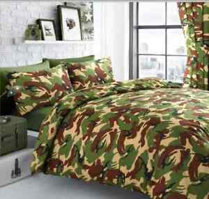 CAMOUFLAGE MILITARY ARMY DUVET SET GREEN. SINGLE OR DOUBLE