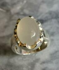 Mens White Aqeeq Akik Agate ring in 925 Sterling Silver handmade no treatment
