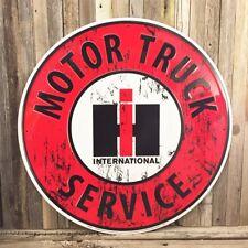 """International Harvester Ih Service Large 24"""" Metal Tin Sign Vintage Garage Truck"""