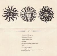 ERICH JASORKA - CHRISTMAS GREETING CARD * RARE drawing 1975 sun