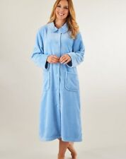 Supersoft Button Front Dressing Gown By Slenderella  Raspberry Blue or Red 10-26