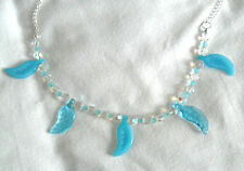 "20"" necklace, blue glass leaves, clear faceted beads"