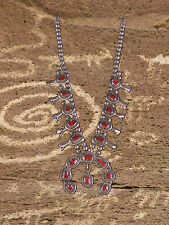 "Vintage Navajo Squash Blossom Necklace 20"" Red Coral Marked Sterling Signed"