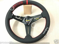 Flat 350mm Genuine Leather Low Dish Black Spoke Steering Wheel OMP NARDI SPARCO