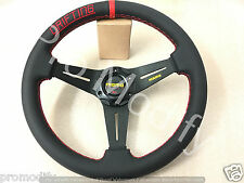 Universal Drifting Flat 350mm Leather Steering Wheel w/ Red Stitching OMP SPARCO