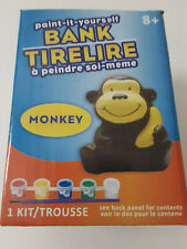 Monkey Ceramic Bank Painting Set Kids with Paints and Paint Brush Arts & Crafts