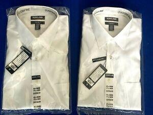 Kirkland Signature Custom Fit Men's Spread Collar Cotton White Shirt Long Sleeve