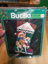 "Bucilla Teddy on a Carousel Felt Stocking 18"" Diag Felt Stocking Kit 82415"