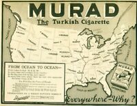 Advertising MURAD The Turkish Cigarette 15c Pack Tobacco S. Anargyros 1915