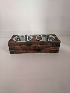 Dog Feeding Station - Wooden stand with 2 Metal Bowls - Sturdy & Stylish
