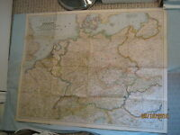 VINTAGE GERMANY AND ITS APPROACHES MAP National Geographic July 1944