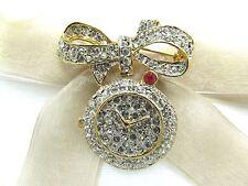 18KGP Bow Pocket Watch Swarovski Element Austrian Crystal Rhinestone Brooch Pin