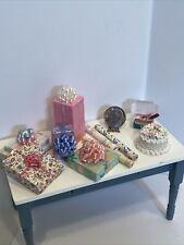 Vintage Artisan Birthday Party Decor Gifts Cake Wrap Dollhouse Miniature 1:12