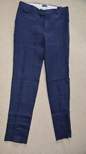 New Mango Man Tailored Slim Fit Blue Linen Trouser Flat Front Formal Pants W30