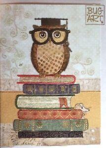 Bug Art Book Owl Embossed Jewel Effect Blank Greeting Card Birthday Graduation