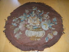 """Antique Georgian Crewel Embroidery Round Floral Vase Panel 18"""" Hand Loomed Base"""