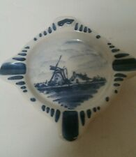 "VINTAGE ASHTRAY DELFTS BLUE FROM HOLLAND BLUE WINDMILL 3 1/4"" X 3 1/4"""