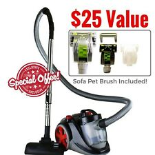 Ovente Bagless Canister Cyclonic Vacuum with Hepa Filter, Comes with Pet/Sofa.