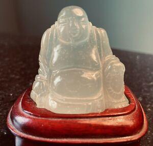 CHINESE CARVED GREEN JADE BUDDHA FIGURINE ON WOOD STAND