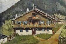 H. STERNER signiert - kleines Alpen-Gemälde 1939: GROSSER BERGHOF AM WALDRAND