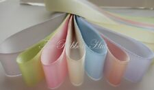 25mm Double Satin Ribbon Pastel Colours,  25mm Width, 8 x 1Mtr Lengths 8 Colours