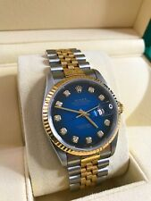 ROLEX OYSTER DATE JUST 16233 18K GOLD 10 set DIAMOND DIAL Men's Watch Late Model