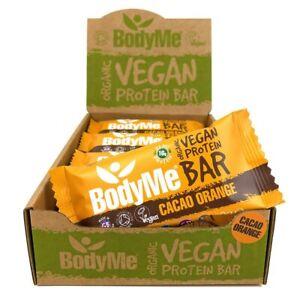 BodyMe Organic Vegan Protein Bar   Raw Cacao Orange 12 x 60g Bars   16g Protein