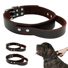 Genuine Leather Large Dog Collars with Handle Quick Control Rottweiler Labrador