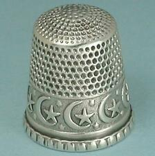 Antique Sterling Silver Crescent Moons & Stars Thimble by Waite Thresher * C1890