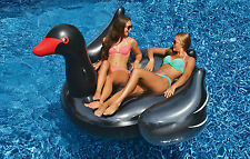 Swimline Giant Inflatable Ride On Black Swan Swimming Pool Float Toy Swim Raft