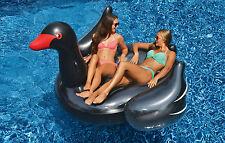Swimline Giant Inflatable Ride On Black Swan Swimming Pool Float Toy Swim Raft