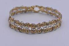 "8"" Technibond Double Row Byzantine Oval Bracelet 14K Yellow Gold Clad Silver QVC"