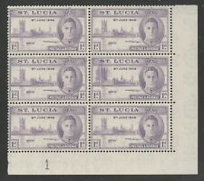 St Lucia 1946 Victory 1d with Printing flaw R 9/6 SG 142 Mnh.